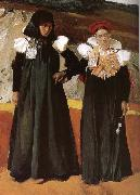 Joaquin Sorolla Two women wearing traditional costumes Aragon oil painting reproduction